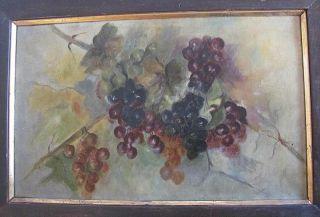 Fine Antique 1883 Original Oil Painting Wine Grapes Still Life Original Frame