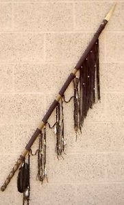 "53 1 2"" LAKOTA Sioux Indian Rawhide Leather Cactus Handle Deer Bone War Spear"