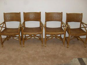 ... Vintage Rattan And Laced Rawhide Safari Dining Chairs British Colonial  McGuire ...