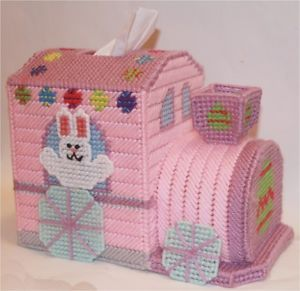 Easter Bunny Train Tissue Topper Plastic Canvas Pattern