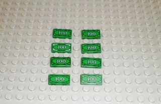 Eight Lego Money $100 Dollar Bills Green Cash Legos Lot