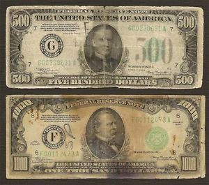 $500 and $1000 Dollar Bills Notes Currency Cash Legal Tender Money No Reserve