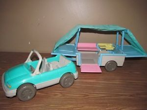 Fisher Price Loving Family Dollhouse Pop Up camper Convertible Car Lot