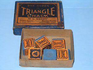 Triangle Brand Pool Cue Billiard Chalk Box w 6 Early Chalks Hartford Ct RARE Old