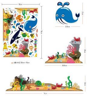 Free Shipping Aquarium Sea Kids Room Adhesive Removable Wall Decor Stickers