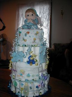 "Precious Moments Diaper Cake ""Baby"" Shower Its A Boy"