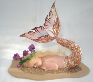 OOAK Fairy Pixie Sleeping Baby Mermaid Art Doll Polymer Clay Sculpt Honey
