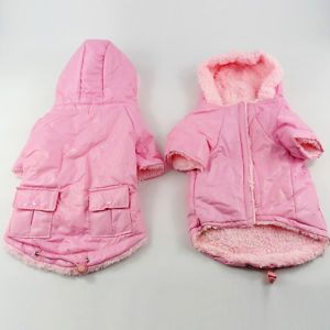 Pink Padded Dog Clothes Puffer Hoodie Dog Puppy Pet Winter Coat Jacket Small