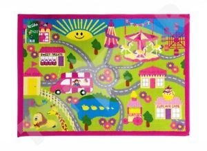 Pink Girls Childrens Play Mat Bedroom Rug Car Fairground Theme New