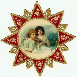 Vintage Victorian Christmas Postcard Printed onto Fabric Victorian Star Angels