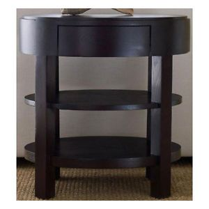Modern Espresso Stain Finish Solid Oak Wood Round Ellipse End Table
