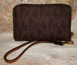 Michael Kors Brown Logo Multi Function iPhone Case Zip Around Wallet Wristlet NW