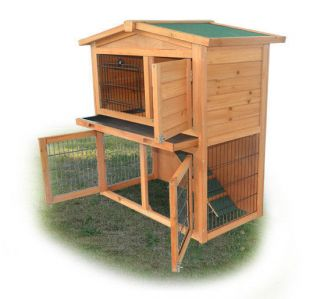 Wood Wooden Rabbit Hutch Small Animal House Pet Cage Hen Chicken Coop Bunny