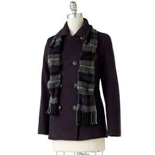 NWT Croft Barrow Solid Wool Peacoat 80 Wool Lightweight 2 Pocket