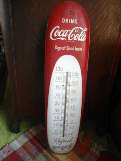 Vintage Large Tin Coca Cola Thermometer Drink Coca Cola Sign of Good Taste USA