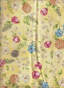 """Joy Florals"" Print Blue Rose Cream on Butter Fabric by Jill Kemp Red Rooster"