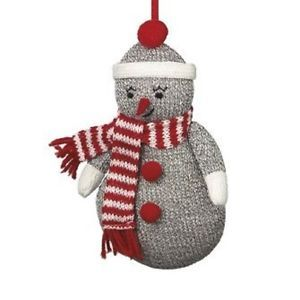 New Sock Monkey Style Grey Snowman Stuffed Animal Plush Christmas Tree Ornament