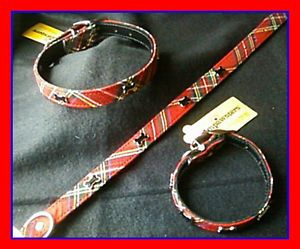 Red Plaid Bone Studded Dog Collar x Small Boy Girl Dog Clothes Pet Apperal Cute