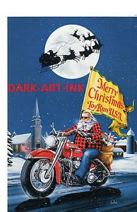 David Mann Art Merry Christmas Print Easyriders Harley Davidson Toy Run Santa