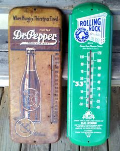 Original 1940s Dr Pepper Soda Bottle 1992 Rolling Rock Beer Thermometers Sign