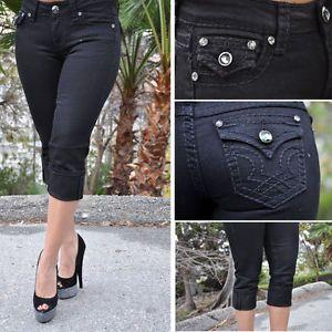 Black Capris with Tick Black Stitcking by La Idol Jeans 1758CP