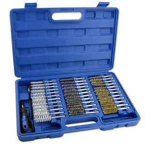 38 PC Wire Brush Set Round Long Reach Tool Kit Set Tube Clean Industrial Auto