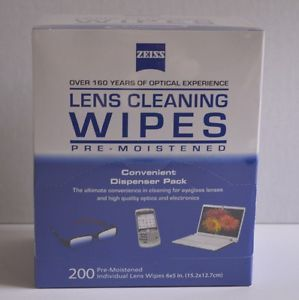 Zeiss Lens Cleaning Wipes 200 Pre Moistened Individual Lens Wipes 6 x 5 In