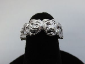 14kt White Gold EP Theater Drama Comedy Tragedy Mask Ring Size 9