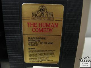 The Human Comedy VHS Clamshell Mickey Rooney Frank Morgan James Craig Brown