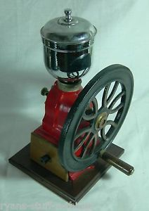 Vintage Single Wheel Coffee Grinder Red Cast Iron Wood Gold Stencil Excellent