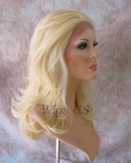 Long Lace Front Wig Straight Layers Heat Resistant Pale Blonde Lace Wigs