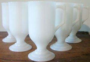 6 Milk Glass Pedestal Mugs Irish Coffee Cocoa Footed White Steins