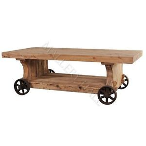 Reclaimed Pine Coffee Table on Wrought Iron Wheels