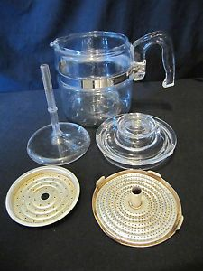 Vintage Pyrex Flameware 4 Cup Coffee Percolator Pot w Lid Stem Filters