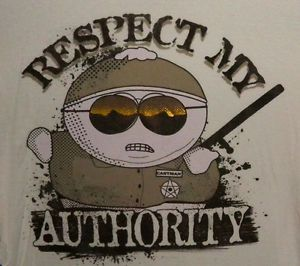 Funny South Park Cartman T Shirt Respect My Authority Cartoon Comedy Central S