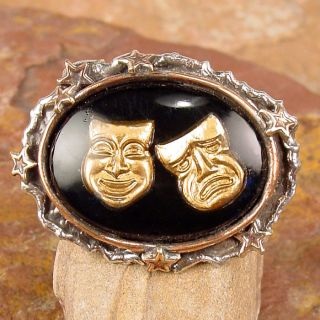 Vintage Glass Comedy Tragedy Masks Intaglio Ring BWS