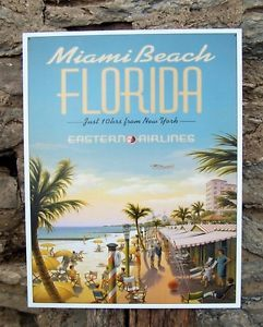 Vintage Antique Style Miami Beach Metal Sign Retro Air Travel Ad Wall Decor USA