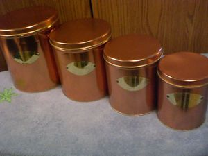 Coppertone Flour Sugar Coffee Tea Canister Set