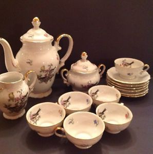 Estate Winterling Bavaria Germany Coffee Tea Complete Set Birds Flowers L K