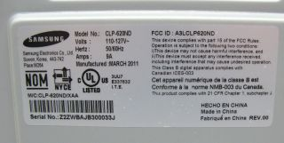 Samsung CLP 620ND Color Laser Workgroup Printer Page Count 5955