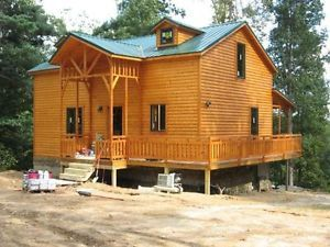 18x40 Log Cabin Kit Complete Open FLR Plan Finish Interior Yourself