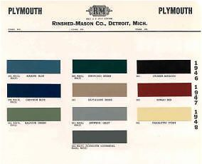 1946 48 Plymouth Paint Color Sample Chips Card