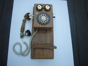 Classic Country Talk Wall Phone Corded Old Fashioned Antique Look Wooden
