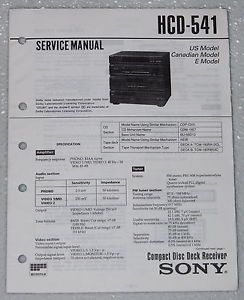 Sony HCD 541 Stereo Component System Original Shop Service Manual Parts List
