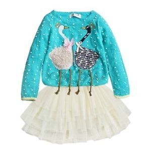 1pc Kids Baby Girls Swan Dress Knit Top Tulle Skirt Tutu Costume Clothing Sz 2T