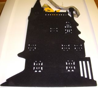 Black Flocked Silhouette Wall Hanging Haunted House Halloween Décor