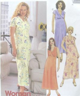 Womens Dress Sewing Pattern Mock Wrap Front Bias Skirt Raised Waist McCalls 3945