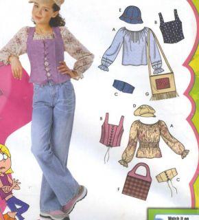 Girls Plus Peasant Blouse Corset Vest Belt Hats Bag Sewing Pattern 5396
