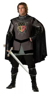 Dark Knight Adult Mens Costume Medieval Armor Halloween Tunic Cape Theme Party