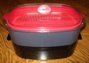 Tupperware 6pc Oval Microwave Stack Cooker Micro Steamer Black Red